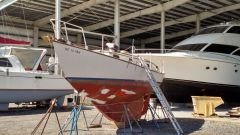 Freya sailboat dry docked