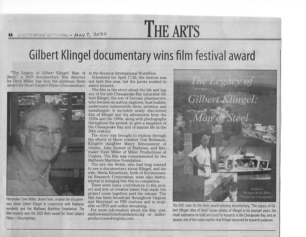 article on Klingel to read from Gazette Journal